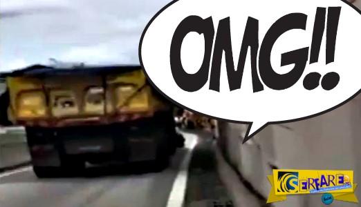Οδηγός φορτηγού σέρνει άλλο αυτοκίνητο χωρίς να το καταλάβει!
