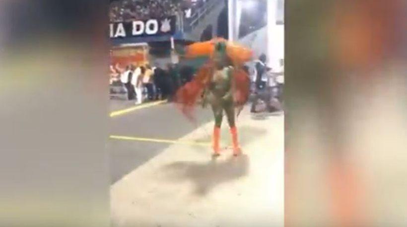 Βραζιλιάνα Βασίλισσα του Καρναβαλιού έχασε το τάνγκα της αλλά συνέχισε να χορεύει